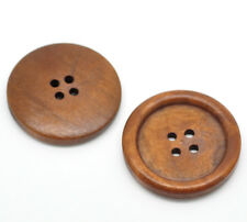 20 Reddish Brown Wood Sewing Buttons for Sweater Overcoat Clothing 35mm B19496