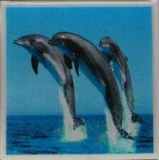 Handmade Ceramic Tile Marble Stone Drink Coasters - Set of 4 - Dolphins 2 B