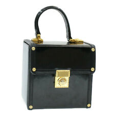 GIANNI VERSACE Sun Face Hand Bag cosmetic Pouch Black Patent Leather Auth sa2938