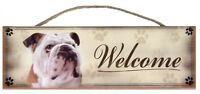 """Bulldog """"Welcome"""" Rustic Wall Sign Plaque Gifts Home Pets Dogs"""
