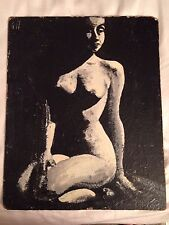 MID CENTURY VINTAGE PAINTING FEMALE  WOMAN NUDE IN SHADOW BLACK & WHITE ON BOARD
