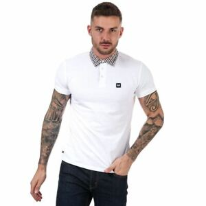 Men's Weekend Offender Chrome Check Collar Cotton Polo Shirt in White