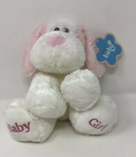 "AURORA BABY BRAND NEW 8"" BABY GIRL PINK WHITE DOG SOFT PLUSH SOFT TOY"