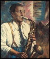 "24""x20"" Oil Painting on Canvas, Saxophone Player, Genuine Hand Painted"