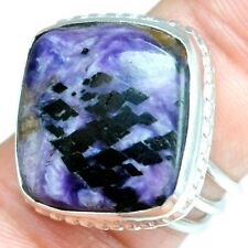 8.12 Grams Natural Top 925 Sterling Silver Hand Made Charoite Rings 8 US Jewelry