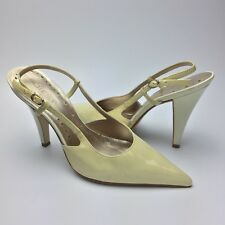 BCBGirls Slingback Pumps Size 7B Womens Pointy Toe High Heels Patent Leather