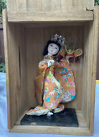 Vintage Japanese Geisha Doll In Kimono With Samurai Hat & Hair In Wooden Box