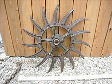 Vintage Industrial Iron Rotary Hoe Cultivator Wheel Garden Farm Yard Art Decor