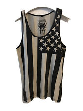 Outcast Tank Top Small Americana USA Flag Grey White Patriotic