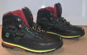Timberland Rasta Jamaican Leather Hiking Boots Sz 9.5 M Black,Red,Yellow,Green