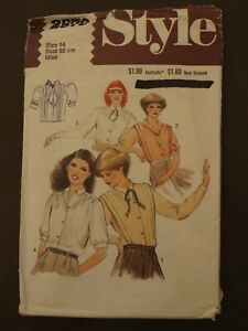 Vintage Retro Style Pattern 2579 - Misses Shirts or Blouse - Size 14