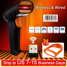 2 IN 1 2.4G Wired & Wireless Laser USB Barcode Scanner Scan Gun Label Reader POS