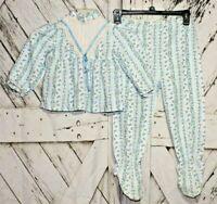 Vintage Kid Dudz Girls Blue Floral 2 Piece Footed Bib Pajama Set Outfit Size 4