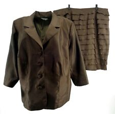 London Times Womens Skirt Suit Plus 24W 3/4 Sleeve Brown Shiny Layered Evening