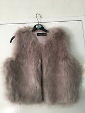 Miss Selfridge Lilac Gillet body warmer faux fur fluffy size S