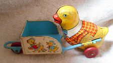 Chein Tin Litho 6 3/4 inch Chick Pushing Wheel Barrow Easter Toy Wood Wheels