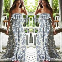 Women Off Shoulder Strapless Cotton Long Maxi Dress Summer Boho Beach Sundress