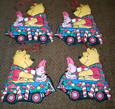 "4 Vtg Pooh & Piglet Holiday Season Wagon Tin Christmas Ornaments 3.5""x3.5"""
