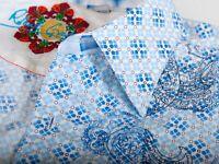 Robert Graham Blue Embroidered Paisley Shirt XXL 12362