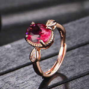 Charm Womens Rose Red Crystal Cubic Zirconia Rings Gold Plated Wedding Jewelry