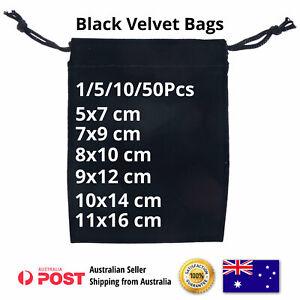 Jewelry Gift Velvet Pouch Bags Drawstring Black Single Bulk Big & Small Sizes