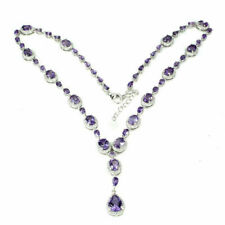 Sterling Silver Necklace Genuine Natural Purple Amethyst Gemstone 17 to 19 Inch