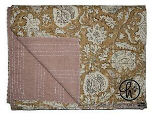Twin Size Kantha Quilt Cotton Handmade Gudari Bohemian Bedsheet Beige Hobo Ralli