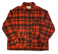 Vtg C.C. Filson Men's Buffalo Red Plaid Mackinaw Wool Cruiser Jacket Size XL USA