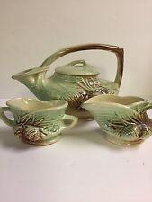 Vintage 1940's McCOY Pottery PINECONE Tea Pot Set with cream ad sugar