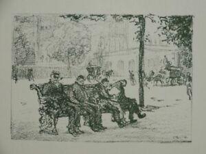 In the Park vier Männer Parkbank - Emil Orlik - Lithographie - 1896