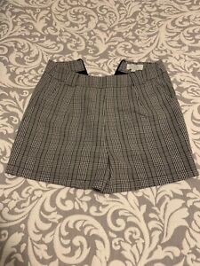Luck and Trouble shorts size 8 rockabilly black white plaid checkered mini