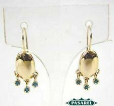 Magnificent 14K Yellow Gold Turquoise Designer Earrings