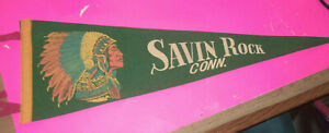 VINTAGE SOUVENIR FELT PENNANT SAVIN ROCK CONNECTICUT 1950s Indian Chief Headress