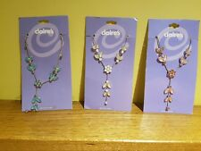 3 X NEW  CLAIRE'S - JEWELLERY GENUINE CRYSTAL BLUE PINK & WHITE SWAG NECKLACES