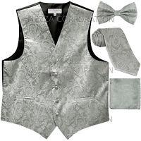 New Men's Vesuvio Napoli Paisley Tuxedo Vest Necktie, Bowtie & Hankie set Silver