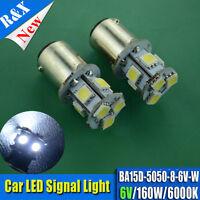 2x 6 Volt BA15D LED  LIGHT GLOBE WHITE 8 SMD 5050 Caravan Car Auto Indicator 6V