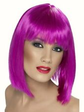 Ladies Short Purple Glam Wig Glamour fancy dress costume Cosplay with fringe