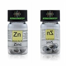 5 grams 99,9% Zinc metal element 30 Zn sample pellets in labeled glass vial
