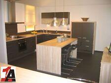Grosse Wohnküche mit Inselblock zum Spitzenpreis Grafit / Wildahorn Sitzinsel