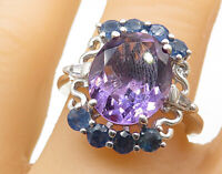925 Sterling Silver - Amethyst & Sapphire Swirl Detail Cocktail Ring Sz 8- R7258