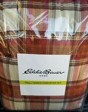 Eddie Bauer Edgewood Plaid Alternative Reversible Comforter Down Full Queen,Red