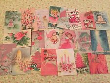 Shabby Christmas Vintage Cards~ pink Gift Tags/mixed media-21 Die Cuts