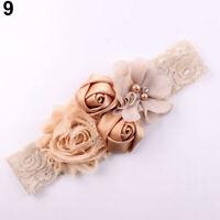 DI- Lace Flower Rose Bead Hairband Newborn Baby Headband Hair Accessory Intrigui