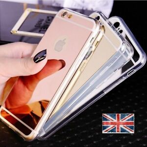 2 for 1 Ultra Thin Mirror Back Soft TPU Silicone Case Cover For iPhone 5/6/7/8/X