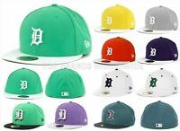 MENS NEW ERA FITTED HAT 59FIFTY DETROIT TIGERS MLB FLAT BILL EMBROIDERED LOGOS