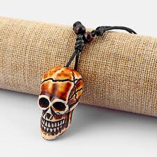 Skull Head Amulet Pendant Necklace Adjustable 12Pcs Faux Yak Bone Gothic 3D