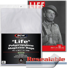 (100) BCW MAG-L-R Life Magazine Size Resealable Sleeves Plastic Slips Bags Flap