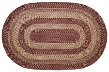 """New Primitive Country Colonial BURGUNDY TAN BRAIDED JUTE RUG Area Throw 60""""x 96"""""""