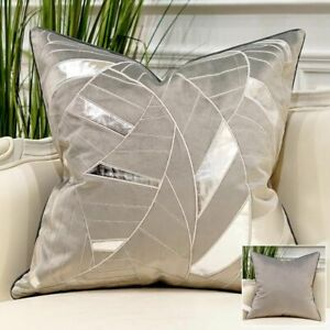 """1 Avigers Grey & Silver Patterned Decorative Throw Pillow Cover 18"""" X 18"""""""