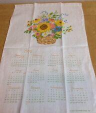 Vintage Kitchen Calendar Towel, 1976, Linen, Flower Basket, Spring Flowers